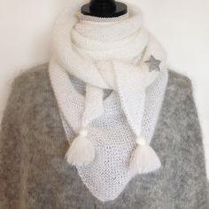 Châle XL en superkid mohair blanc et sa petite broche étoile   Echarpe,  foulard, cravate par namche-bazar 43cd4435c85