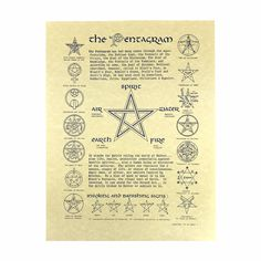 The Pentagram Poster x Parchment Print NEW Wicca Book of Shadows Page Pagan Symbols, Symbols And Meanings, Pentacle, Pagan Calendar, Wiccan Books, Wiccan Rituals, Pagan Beliefs, Grimoire Book, The Knowing