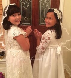 Hope everyone is doing well. As the season of First Communion celebrations come to an end, I just want to thank my DIY Guest, Tina Scarlatella, for sharing her First Communion designs w… Veil Diy, First Communion Veils, Mantilla Veil, Flower Girl Dresses, Celebrations, Wedding Dresses, Brides, Banner, Crafting