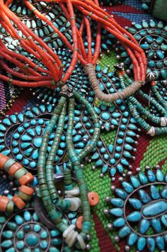 Beautiful turquoise and coral from Uchizono Gallery.
