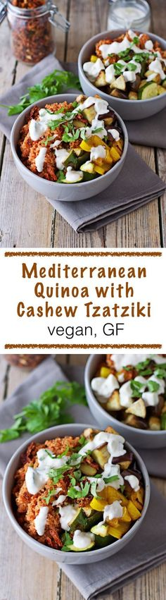 Vegan and gluten free Mediterranean Quinoa with Cashew Tzatziki. Perfect summer dish with freshly-roasted vegetables and a special tomato touch for the quinoa. Vegan Vegetarian, Vegetarian Recipes, Healthy Recipes, Easy Recipes, Vegan Food, Whole Food Recipes, Cooking Recipes, Be Light, Mediterranean Recipes