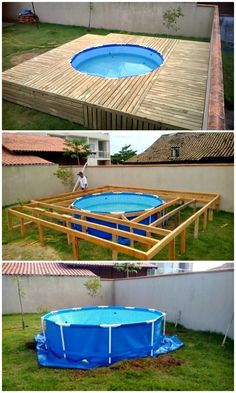 12 low budget DIY swimming pool tutorials - places like heav.- 12 low budget DIY swimming pool tutorials – places like heaven – maaghie - Diy Swimming Pool, Diy Pool, Swimming Pool Designs, Piscina Diy, Backyard Patio, Outdoor Pool, Backyard Landscaping, Outdoor Decor, Pallet Pool