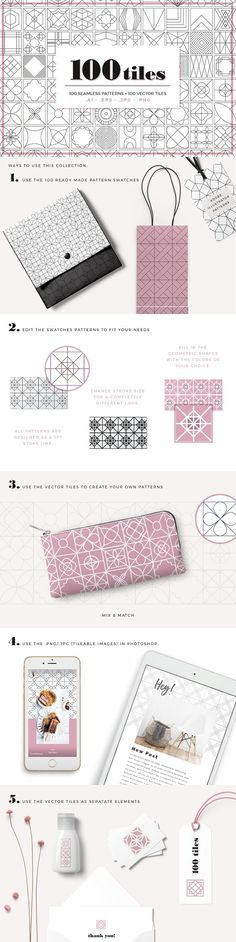 100 Tiles Patterns by Youandigraphics on @creativemarket