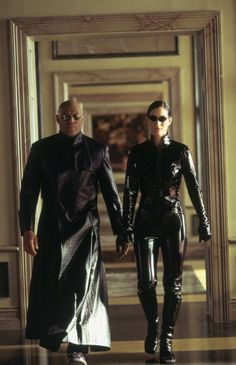 Laurence Fishburne and Carrie-Anne Moss in The Matrix Reloaded