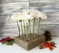 Test tube wood block vase. Rustic farmhouse decor. by LynettesArt