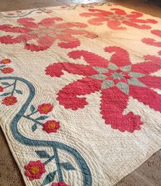 very old antique quilt  completely handmade. circa 1850 princess feather pattern, eBay, a_thread_of_scarlet