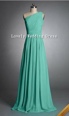 Sleeveless One-shoulder Empire Zipper Long Chiffon Dress Bridesmaid Dress Homecoming Dress Prom Dress Evening Dress Party Dress