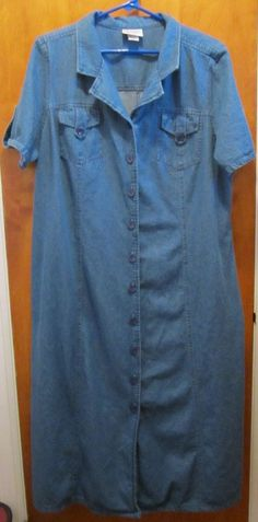 Essentials by Maggie Plus Size 18/20W Long Modest Button Front Dress #EssentialsbyMaggie #ShirtDress #Casual #plussize #fashion #style #freeshipping