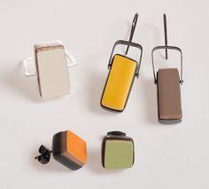 "Polina Dimitrova Earrings: ""Tiles"" collection Ceramic, silver"