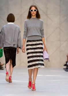 Graphic stripe embroidered pencil skirt with cashmere cotton bow-detail sweater - The Burberry Prorsum S/S14 Collection