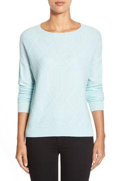 a09f8cb60 Halogen® Diamond Pattern Cashmere Sweater (Regular   Petite) Blue Sweaters