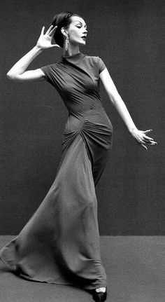 Dovima modeling a dress designed by Madame Grès, 1955.  Read Dovima's bio.  Not a happy life for this beautiful woman who was one of the first supermodels.