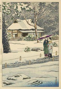Artist Kasamatsu Shiro - Shinsentei Arbor in Rikugien Garden Japanese woodblock prints, serigraphs (silkscreens), watercolors, lithographs, scrolls. Japanese Modern, Japanese Prints, Japanese Art, Famous Gardens, Japanese Illustration, Memorial Museum, Modern Prints, Winter Scenes, Woodblock Print