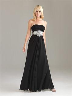 Strapless Empire Chiffon Drape Black Floor-length with Embellished Trim Prom Dress PD0893