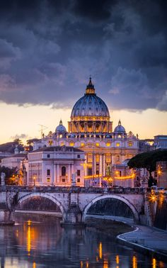 Sunset in Rome, with Saint Peter Cathedral on the background, Italy | by Stefano Termanini on 500px