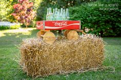 southern chic, georgia cokes, classic coke bottles, hay stack, wedding decor, outdoor wedding, georgia wedding, southern wedding ideas :: Natalie + Greg's Wedding at Ashford Manor Bed & Breakfast in Watkinsville, Georgia:: with Tyler.