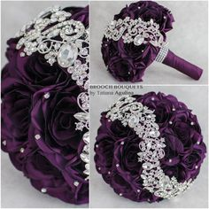 Wedding bouquets,bridal bouquet, purple bouquet, brooch bouquet, jewelry bouquet, purple bridal bouquet, purple and silver brooch bouquet. Purple and Silver wedding brooch bouquet! Bridal bouquet for the beautiful bride. MADE TO ORDER