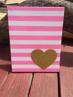Pink and white canvas with Gold heart by WillowBugsCreations on Etsy