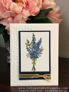 Stampin' Up! Lots of Lavender photopolymer stamp set, Stampin' Blends markers and Petal Pair textured impressions folder for the Big Shot Lavender Stamp, Stampin Up Anleitung, Stamping Up Cards, Get Well Cards, Scrapbook Cards, Scrapbooking, Cool Cards, Diy Cards, Watercolor Cards