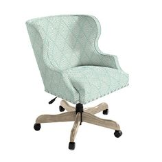 Suzanne Kasler Carson Desk Chair with Brass Nailheads Velvet spa and Chestnut Finish Ballard Designs, Home Office, Upholstery, New Homes, Furniture, Brass, Home Decor, Pewter, Desk Chairs