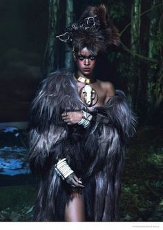 Rihanna continues to surprise as she wears a mix of tribal-inspired looks with bold face paint.// Rihanna For W Magazine