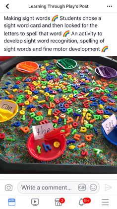 I really like this idea for practicing sight words. This is an engaging activity for students to practice spelling words. This also helps students with their letter recognition. Nursery Activities, Preschool Learning Activities, Homeschool Kindergarten, Toddler Learning, Spelling Activities, Alphabet Activities, Preschool Activities, Kids Learning, Homeschooling