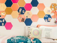 DIY Dorm Decor: Colorful Hexagon Corkboard