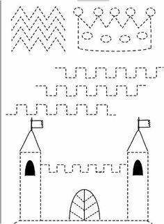 Pre Writing, Writing Skills, Preschool Worksheets, Preschool Learning, Motor Activities, Activities For Kids, Castles Topic, Chateau Moyen Age, Grand Prince