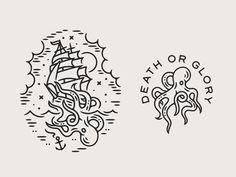 Kraken by Liam Ashurst on Dribbble Octopus Art, Oldschool, Future Tattoos, Design Reference, Art Logo, Tattoo Drawings, Line Art, Art Sketches, Small Tattoos