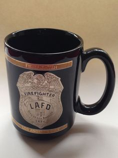 LAFD Los Angeles Fire Department FIREFIGHTER mug black stocking stuffer gift