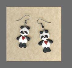 Panda earrings - polymer clay