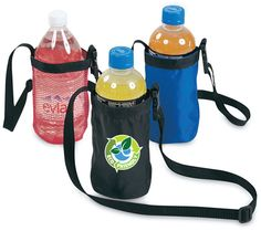 Water bottle holder with adjustable webbed shoulder strap.  Nylon and mesh fabric.