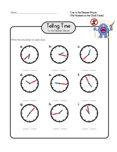 Practice telling time down to the nearest minute with this free worksheet! #advancedtellingtime #tellingtime #tellingtimepractice #freeworksheets