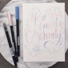 The Tombow versions of the Pantone Colors of the Year blend together soooooo nicely. Brush Lettering, Hand Lettering, Tombow, Color Of The Year, Modern Calligraphy, Scribble, Pantone Color, Artsy, Bullet Journal