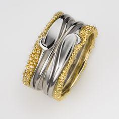 Erica Sharpe Fine Jewellery's Kerensa Double Wave and Shore Ring (Cornish Tin) | Rings | JewelStreet.com