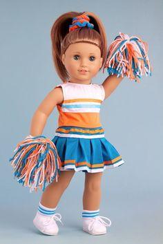 Cheerleader - Blouse, Skirt, Headband, Pompons, Socks & Shoes for 18 inch Doll #DreamWorldCollections