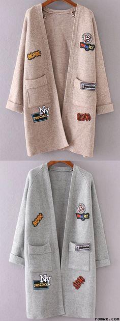 Khaki & Grey Raglan Sleeve Patch Long Cardigan With Pockets from romwe.com
