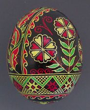 Pysanka, Real Ukrainian Easter Egg, Hen Chicken Shell, Flowers , NK6