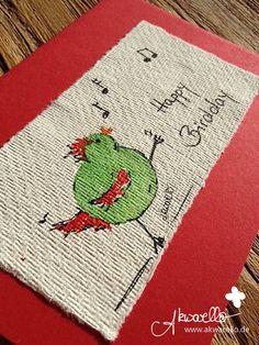 Happy Birdday by Akwarello ** Direkt über den Akwarello-Shop http://de.dawanda.com/shop/Akwarello bestellen! #birthday #Geburtstag#auguri #chicken #bird #vogel #ucellino #musica #happybirthday