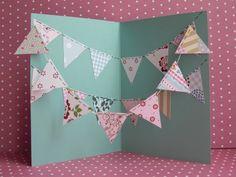 Geburtstagskarte mit Wimpelkette aus gemustertem Papier   Birthdaycard with bounting www.karolin-buckl.de