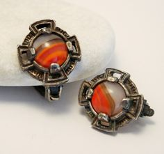 Miracle style earrings. Vintage earrings. Clip on earrings. Orange glass earrings. Celtic earrings by chicvintageboutique on Etsy
