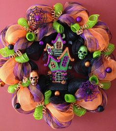 Haunted House Halloween Deco Mesh Wreath by DecoMeshFrenzy on Etsy