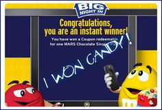Mars Chocolate Big Night In Instant Win Game WIN an Xbox One with Kinect ,the UNO DARE! Card Game,FREE Candy & more Enter DAILY-Ends 4/16