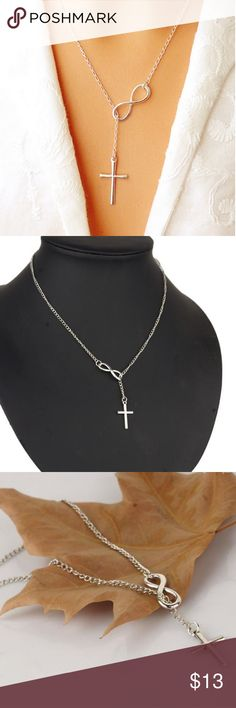 Infinity Cross Pendant Necklace New  Wedding Party Event 925 Silver Plated Chain Elegant Jewelry For Women Ladies💞💞💞 & Other Stories Jewelry Necklaces
