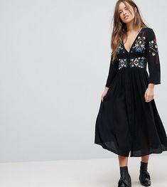 c65a1d3989c ASOS PETITE Embroidered Maxi Dress - Black Asos Petite