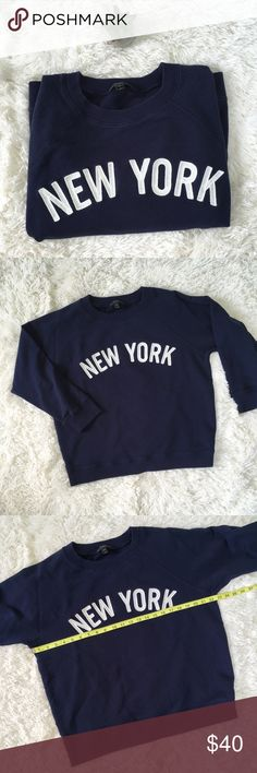 "J Crew ""New York"" Crew Neck Navy Sweatshirt J Crew Sweatshirt Size EXTRA LARGE Navy Blue  Cotton Great pre-owned condition   ▫️Measurements in photos (laying flat and are approximate) ▫️Materials/Care in photos   💜My home is smoke and pet free J. Crew Tops Sweatshirts & Hoodies"