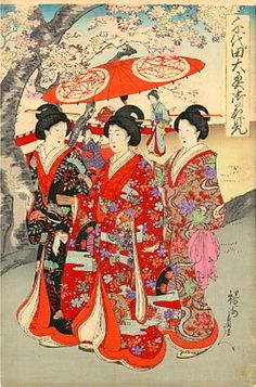 Chikanobu Youshuu 豊原周延 (1838-1912)  Ladies in waiting at Chiyoda Palace for cherry blossoms party - Chiyoda Ooku Ohanami - 1894  ( one of three panels)