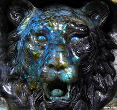 Beautiful Labradorite Crystal Lion Head!
