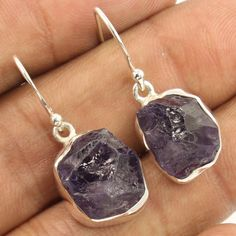 Manufacturer ! Natural AMETHYST Gemstone Earrings 925 Sterling Silver Jewellery…