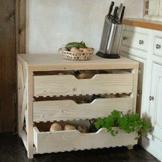 Vegetable Rack-styled on the-traditional apple storage rack-used to store the fruit harvest-With deep slatted drawers-for good air circulation Vegetable Rack, Vegetable Storage, Recipe Organization, Kitchen Organization, Storage Rack, Storage Ideas, Root Cellar, Home Furniture, Pine